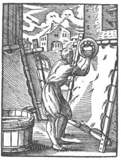 Pergament am Rahmen gespannt