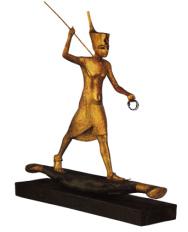 Papyrusboot mit Tutanchamun mit Speer