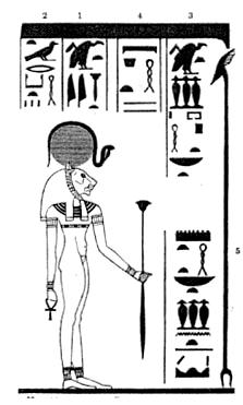 Gottheit Bastet mit Papyrusszepter