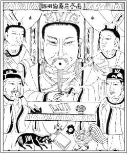 Tsai Lun, Portrait auf einer chinesischen Tuschzeichnung
